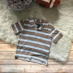 Mini Boden Brown Blue Stripe Polo Worn Look 2-3 yr